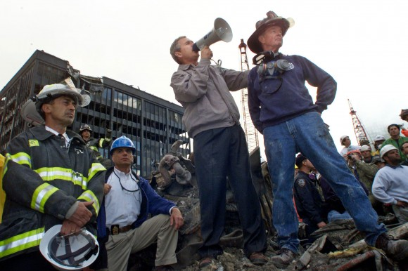 US PRESIDENT GEORGE BUSH ADDRESSES CROWD IN RUBBLE OF WORLD TRADE CENTER.
