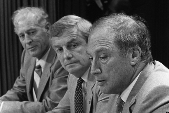 Prime Minister Pierre Trudeau (right) and Premier Peter Lougheed at a news conference to anounce an oil pricing agreement Sept. 1, 1981. Former Alberta premier Peter Lougheed has died at age 84. Prime Minister Stephen Harper's office confirmed that Lougheed died Thursday in the Calgary hospital bearing his name. THE CANADIAN PRESS/Dave Buston