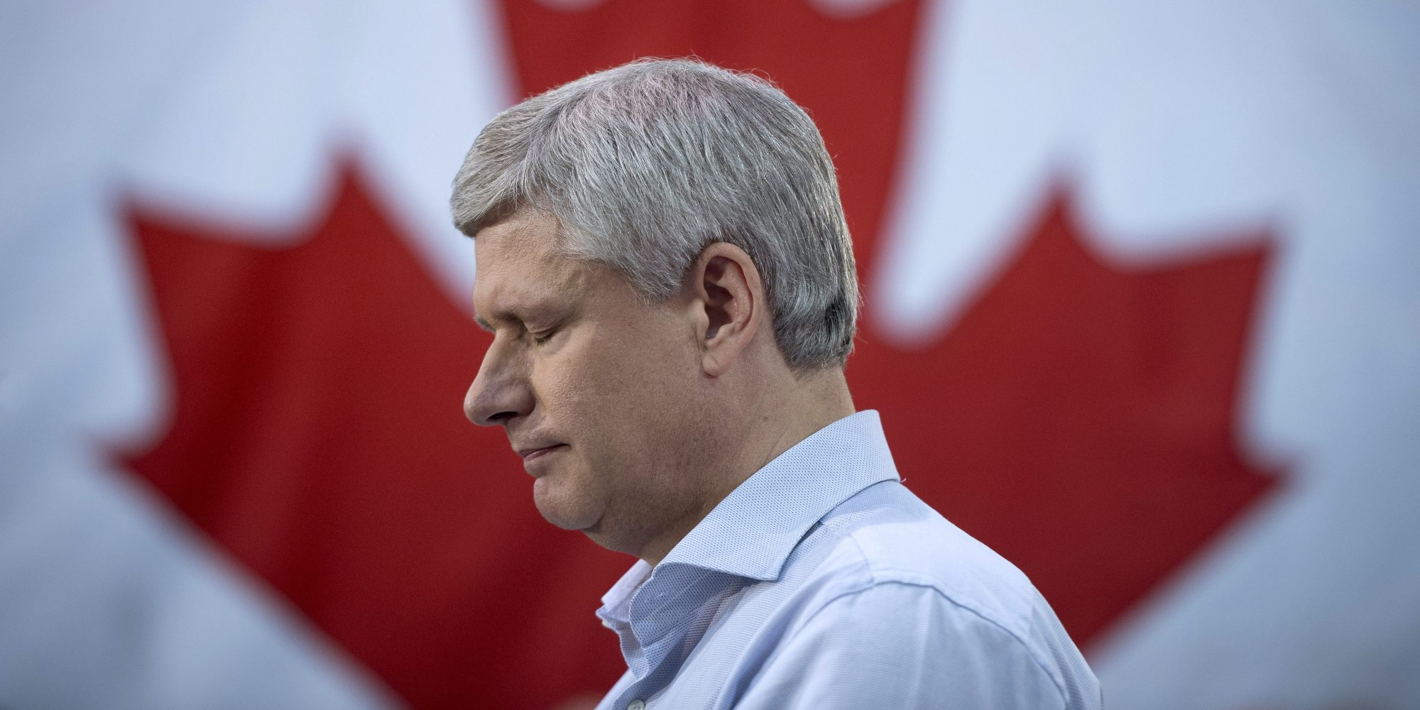 Conservative leader Stephen Harper pauses for a moment as he attends a campaign event at the J.P. Bowman tool and die company  in Brantford, Ont., Wednesday, Oct. 14, 2015.   THE CANADIAN PRESS/Jonathan Hayward