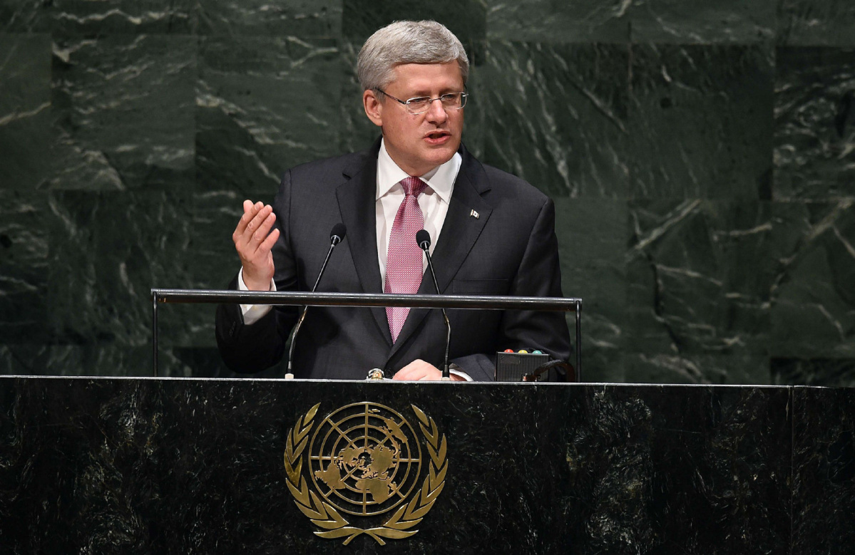 Canada's Prime Minister Stephen Harper addresses the 69th Session of the UN General Assembly at the United Nations in New York on September 25, 2014.