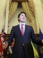 PM Trudeau receives a standing ovation during a Liberal caucus meeting on Parliament Hill in Ottawa