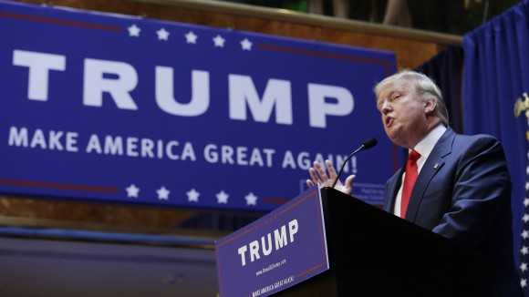 Real estate mogul and TV personality Donald Trump formally announces his bid for the 2016 Republican presidential nomination during an event at Trump Tower in New York