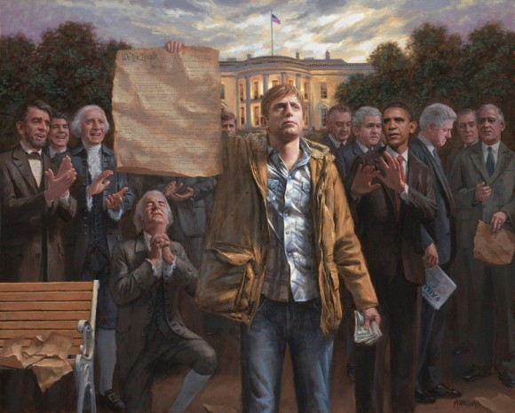 """There is something simmering deep inside the soul of all Americans,"" writes Jon McNaughton, creator of The Empowered Man. His other works include: ""One Nation Under Socialism"" (featuring President Obama and a burning Constitution) and ""Obamanation,"" which must be seen to be fully appreciated."