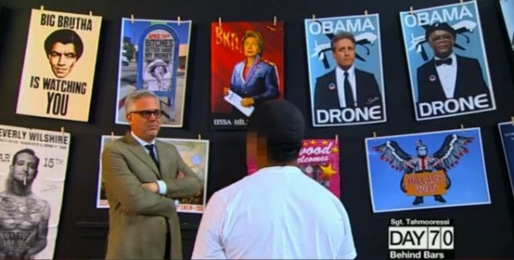 "Anonymous Los Angeles-based conservative artist ""Sabo"" on the Glenn Beck show. Note his poster of a tattooed, smoking Ted Cruz (bottom left), of whom he said: ""Ted Cruz, visually, was a little boring, but the way he acts is … bold."" (Image: TheBlaze.com) Sabo's work below mimics Shepard Fairey (of Obama ""Hope poster"" fame) and other street artists."