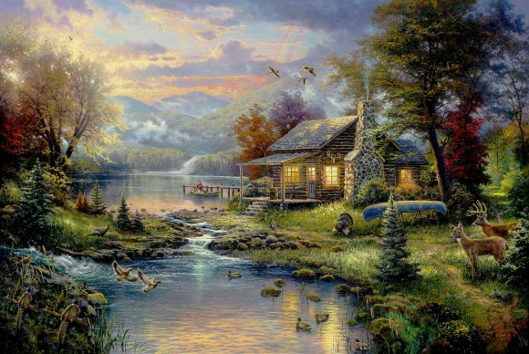Nature's Paradise by Thomas Kinkade: The 'Painter of Light'…and 'kitsch.' (Image: funnyordie.com)