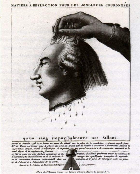 A French poster published during the height of the Jacobin revolution, in 1793, depicts the severed head of Louis XVI and reads 'let impure blood water our furrows'. (Image: National Library of France)