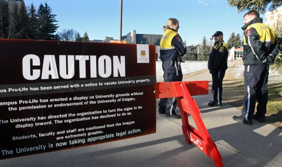 A pro-life group was barred from protesting at the University of Calgary. Not exactly a bastion of free speech. (Image: Christina Ryan/Postmedia News)