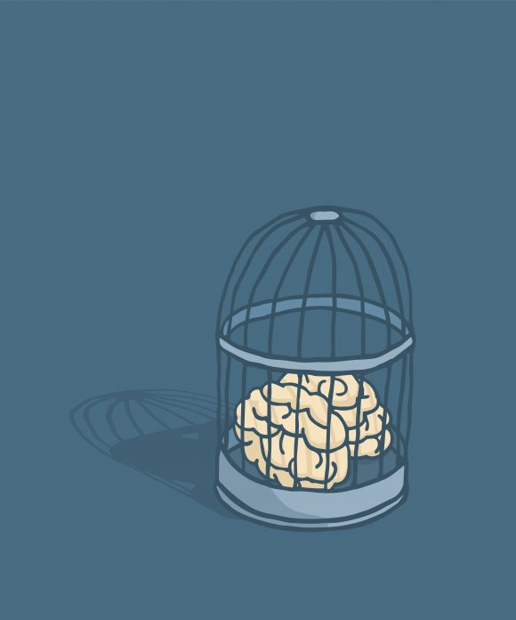 Brain or mind caged in birdcage