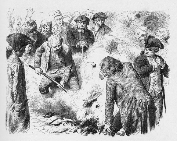 19th century illustration of people burning books