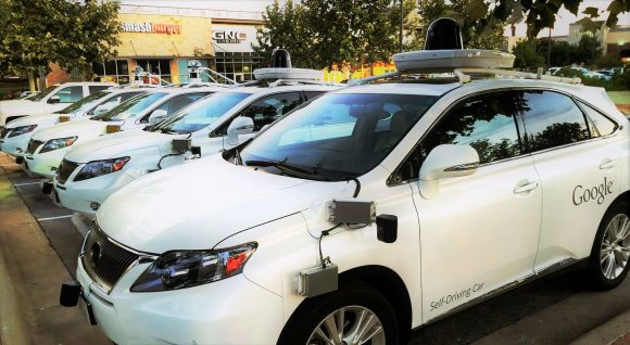 A collection Google self-driving cars