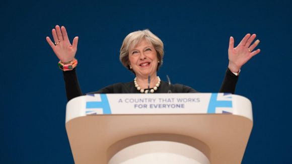 Britain's Prime Minister Theresa May speaks at the annual Conservative Party Conference in Birmingham, Britain, October 2, 2016. (Image: REUTERS/Toby Melville)