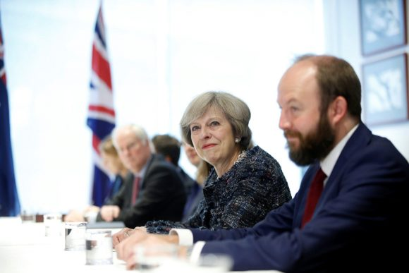 British Prime Minister Theresa May with Nick Timothy, joint chiefs of staff, at during a bilateral meeting at the sidelines of G20 Summit in Hangzhou, Zhejiang Province, China, September 5, 2016. (Image: REUTERS/Aly Song)