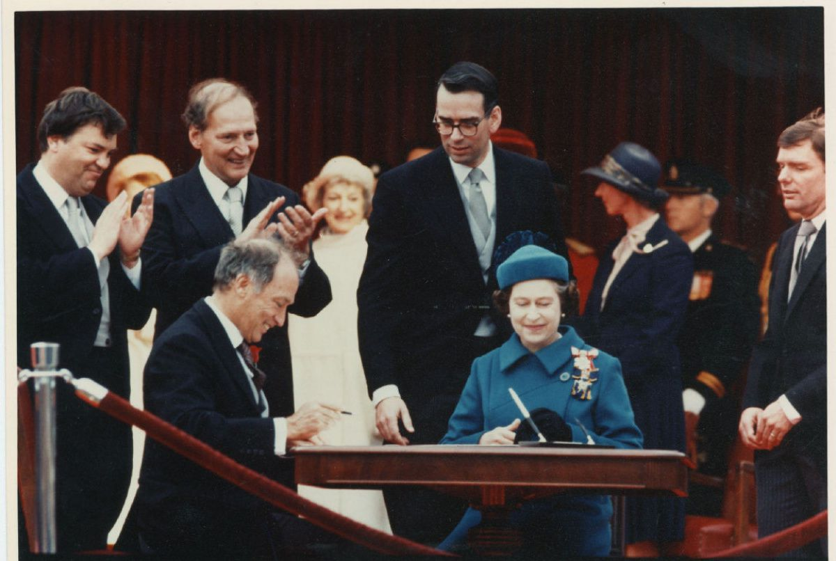 The Charter of Rights and Freedoms is signed into law by Queen Elizabeth II in 1982.