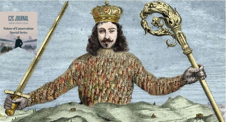 Picture of Thomas Hobbes frontispiece of Leviathan. A renowned pieceof political work on liberty