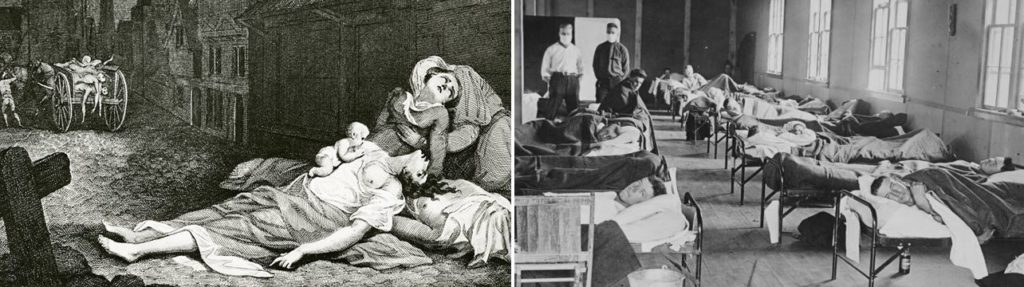 Picture of hospitals during previous pandemics where a lockdown was not implemented