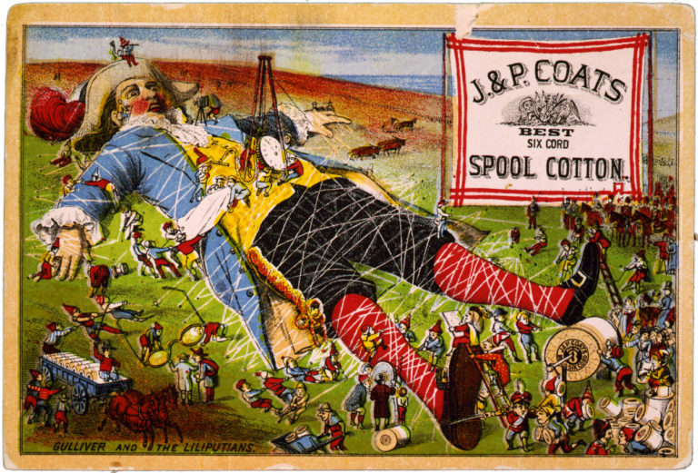 Pictured is Gulliver tied down by the Lilliputians. Illustrating the plight of civil servants under increasing regulation.