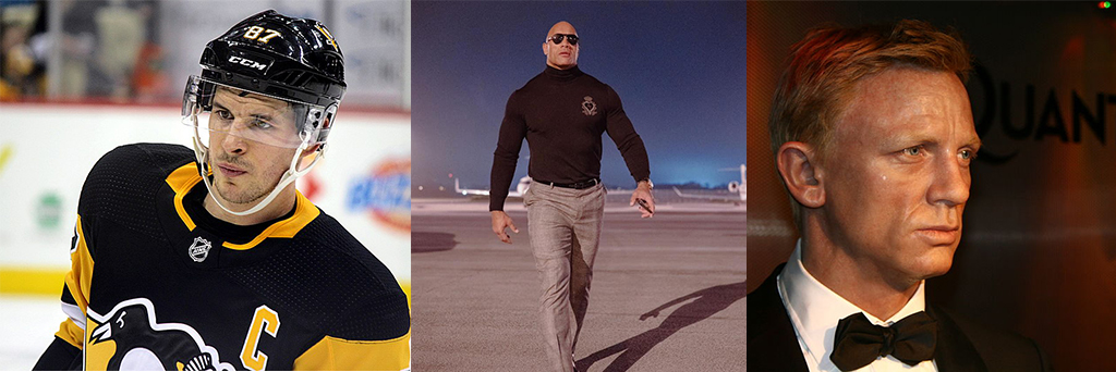 Hockey star Sidney Crosby and movie actors Dwayne 'the Rock' Johnson and Daniel Craig (left to right) all exceed normal weight guidelines based on their Body Mass Index measurements. (Sidney Crosby picture by Michael Miller.) Need they respond to the government overreach dietary requirements?