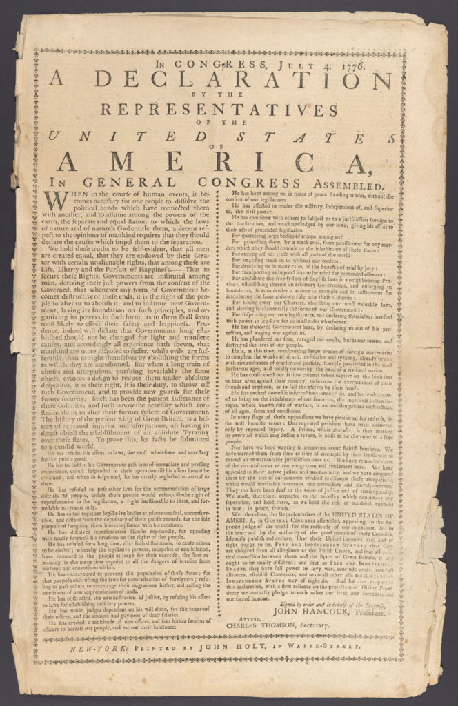 Pictured is the Declaration of Independence. A document that is considered a companion of the Declaration of the Rights of Man, a document that arose out of the French Revolution.