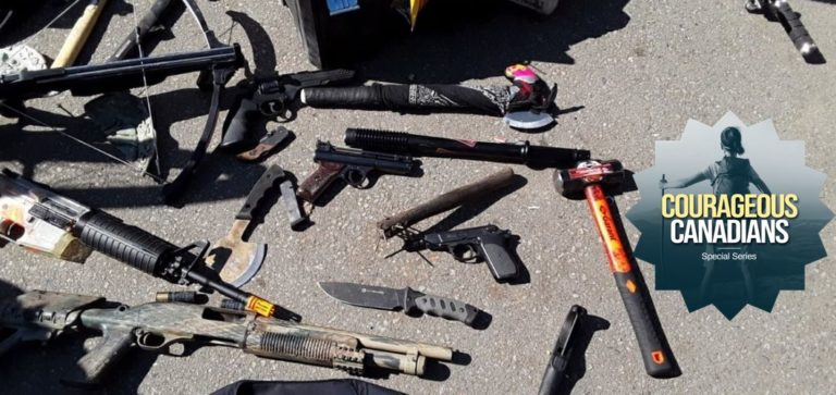 Picture of weapons found in Vancouver homeless camp