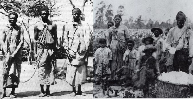 Two pictures, left slaves at a market in South Carolina, right a family of enslaved black Americans in a field in Georgia.