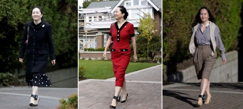 Three pictures of Meng Wanzhou sporting her ankle bracelet are displayed. A unique fashion accessory to the driving event in Canada-China's icy relationship.