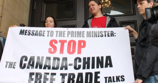 Protesters urged the Prime Minister to halt free trade talks with China as a result of their actions. A new tactic in the Canada-China relationship.