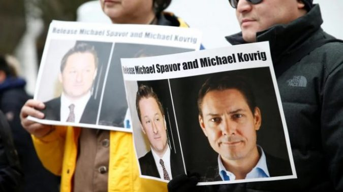 Protestors fighting for the release of Michael Kovrig and Michael Spavor amid the rising Canada-China relations are pictured.