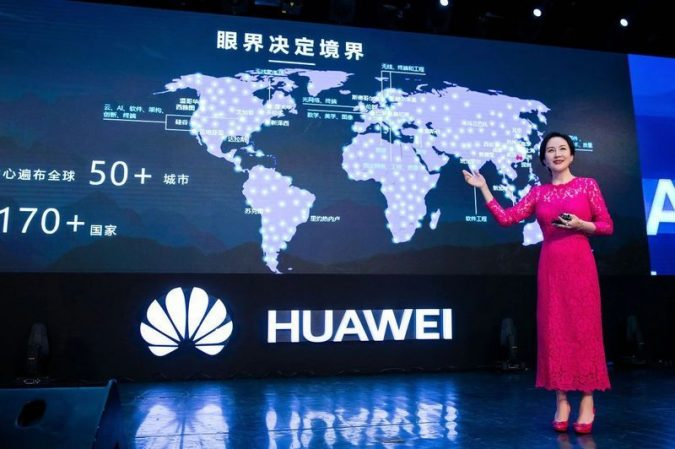 Picture of Meng Wanzhou presenting for Huawei, a key actor in the increasingly icy Canada-China relationship