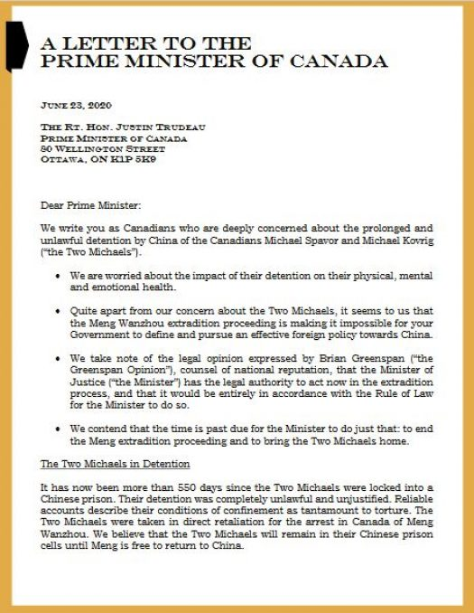 Screenshot is of a letter sent to the Prime Minister on behalf of politicians of various political holdings. The letter encourages appeasement in the Canada-China relationship.
