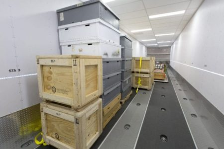 Interior views of the the passenger and cargo areas of Lockheed's LMH-1.