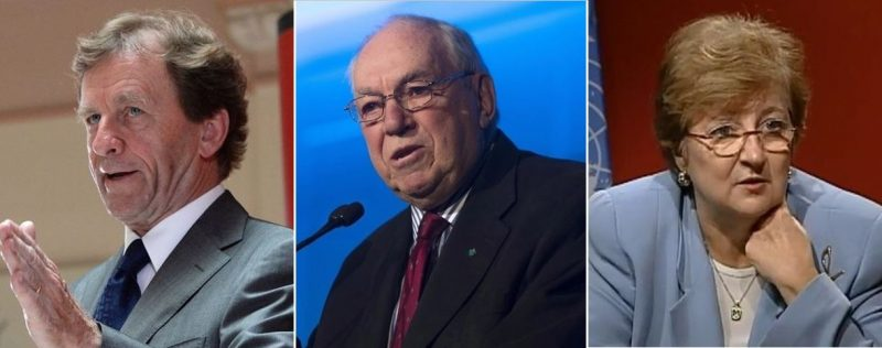 Authors of the letter to Prime Minister Justin Trudeau are pictured, left to right) former Liberal Justice Minister Allan Rock, former federal NDP Leader Ed Broadbent, and former UN Deputy Secretary-General Louise Frechette. The letter called on Trudeau to release Meng to ease tensions in the Canada-China relationship.