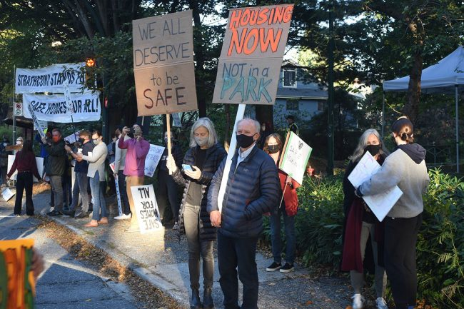 Residents of Strathcona park protest the Vancouver homeless camp that has been allowed to grow