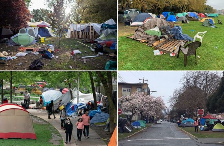 Four pictures of the Vancouver homeless camp n Strathcona park