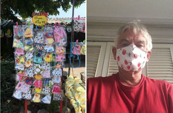 Way ahead of Canada: Masks in Thailand are ubiquitous, plentiful, cheap and even fun. The cherry motif reminds the author of home in B.C.'s Okanagan.