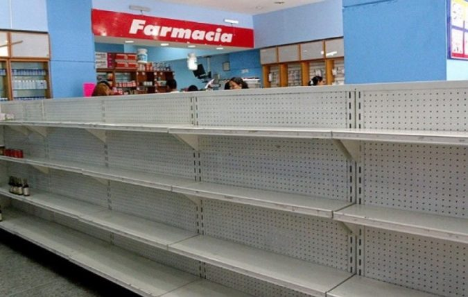 Picture of empty shelves in Venezuela as a consequence of the nations debt, hyperinflation, and price controls.