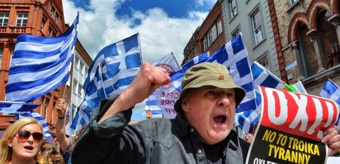 Picture of protestors when Greece's national debt reached crisis levels.