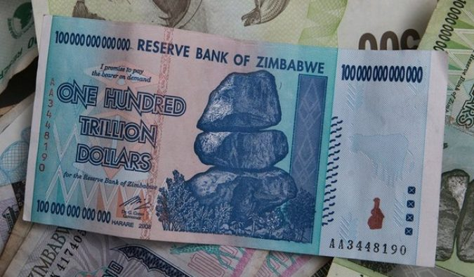 Picture of Zimbabwe banknote which was inflated in response to the nation's debt crisis.