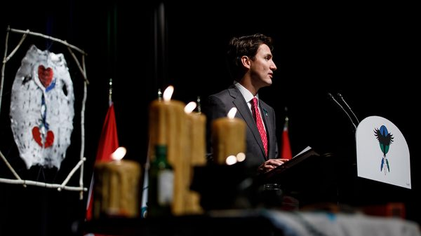 "Then-Prime Minister Stephen Harper's 2008 apology to Indigenous peoples ""on behalf of…all Canadians"" (as Assembly of First Nations Chief Phil Fontaine looks on) paved the way for our ""apologizer-in-chief"", current PM Justin Trudeau."