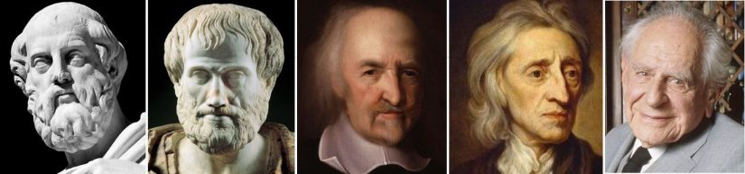 Headshots of great liberty thinkers - Plato, Aristotle, Thomas Hobbes, John Locke and Karl Popper. All of whom placed a great emphasis on the pursuit of individual liberties.