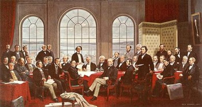 Picture of Fathers of Confederation. Group of leaders pursuing liberty for their country.
