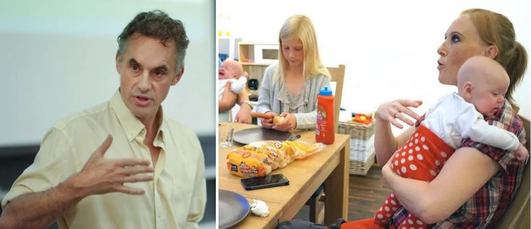 Picture of Jordan Peterson next to mother holding young baby. Is liberty innate to human nature?