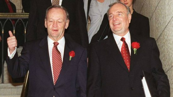 "Historical deficit fighters: (clockwise) Conservative PMs Brian Mulroney and Stephen Harper, Liberal PM Jean Chretien with his finance minister, Paul Martin. Deficits and Debt: How Liberal tax and spend policy Created ""Generation Screwed"""