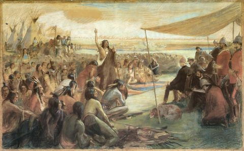 Diplomacy that worked: Siksika Blackfoot Chief Crowfoot making a speech during the Treaty 7 negotiations in the 1870s.