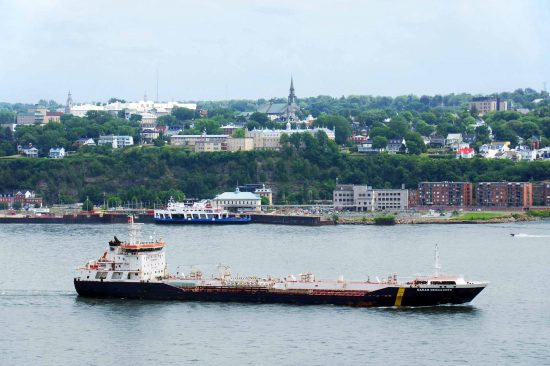 An oil tanker on the St. Lawrence river in front of Quebec City.