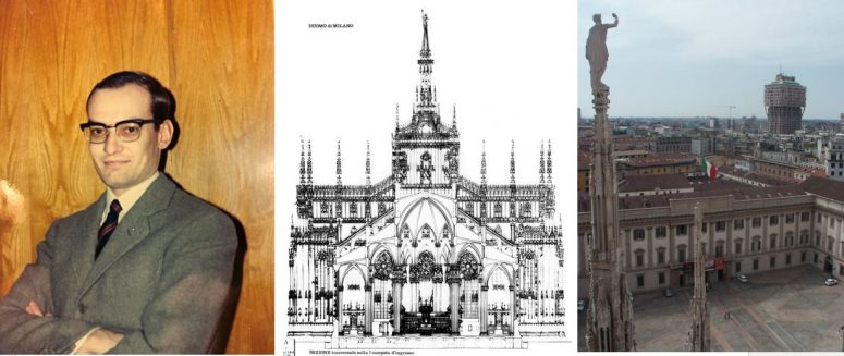 Picture of architect, sketch of the Duomo, and the modern world's Velasca