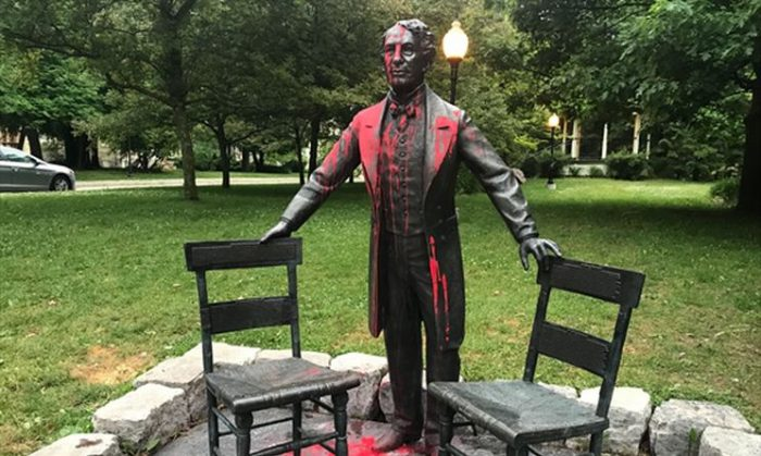 John A. Macdonald statues are being defaced with red paint across Canada amid accusations of a genocide against Indigenous people.