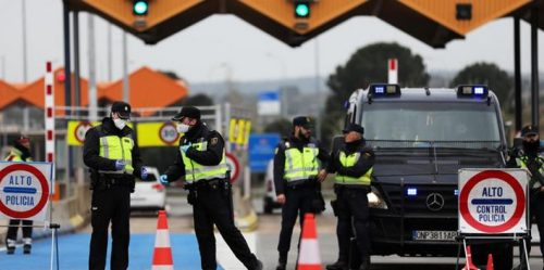Open borders crumble: The irregular border crossing at Roxham Road in Quebec was finally closed by Ottawa amidst coronavirus fears (above), while borders across Europe have been slammed shut. (Below, a border checkpoint between Spain and France.)