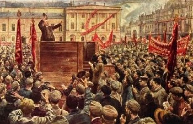 Lenin is pictured preaching to a crowd of people during the fairy tale of communism they were forced to endure.