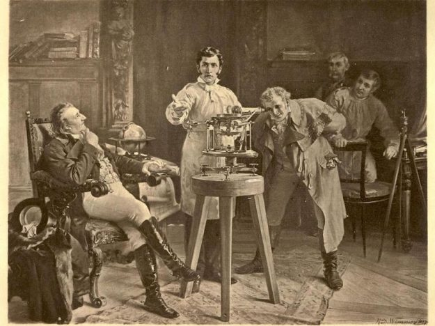 A historical photo of scientists is used to identify a counter to the compelling Leftist narratives.