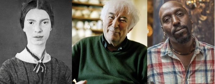 Profile shots of famous poetsEmily Dickinson, Seamus Heaney and Kei Miller. Whose work is worlds apart from that of instagram poets